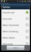 Screenshot of Metro Nyheter Widget
