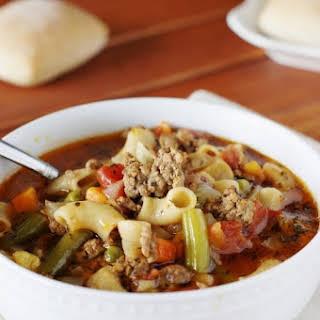 Cheeseburger Macaroni Vegetable Soup.