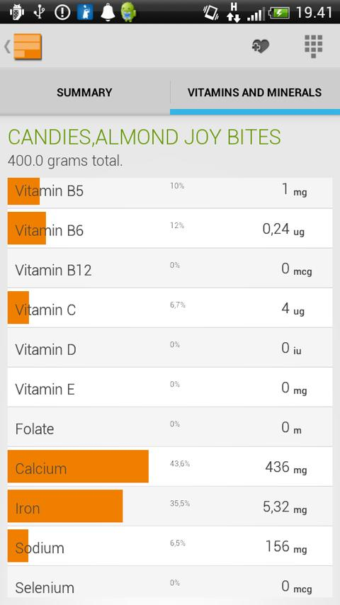 Food, Calories and Nutrition - screenshot