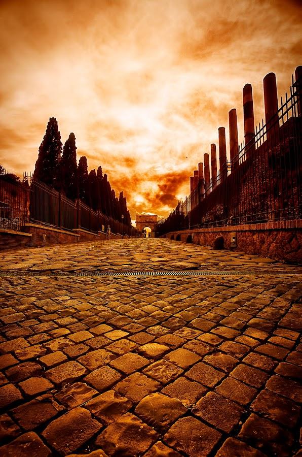 The Road... by Sandro Manicone Profilo Artistico - Landscapes Sunsets & Sunrises ( landscape sunrise sunset red road city )