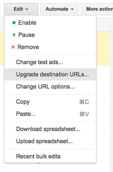 "Select ""Upgrade destination URLs"""