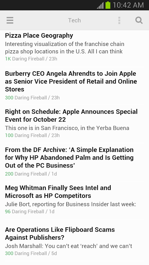 Feedly - screenshot