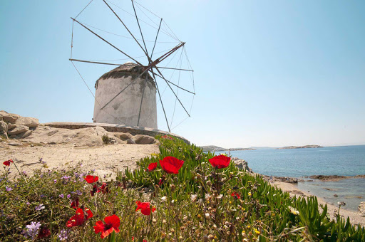 Windmill on the island of Mykonos, Greece.