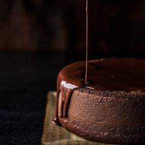 Chocolate Ganache Cake by Mark Richardson - Food & Drink Cooking & Baking ( cake, chocolate, ganache, frosting, bake, brown )