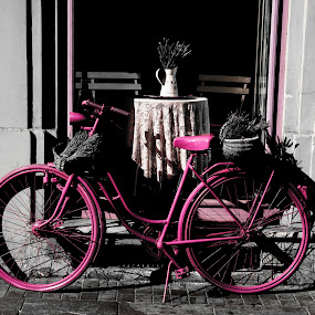 Pink Bike - selected colour by Andrew Robinson - Transportation Bicycles ( budapest, bike, pink bike, pink, lavender, selective color, pwc )