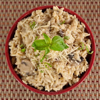 Slow Cooker Brown Rice Mushroom Risotto.