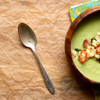 Spinach Soup with Garlic Thyme Croutons.