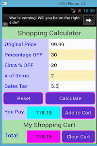 Shopping Calculator screenshot 2