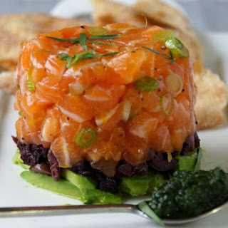 Salmon Tartare with Avocado, Olives & Tarragon.
