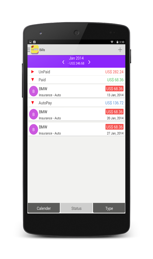 myBills lite - Bills Manager- screenshot