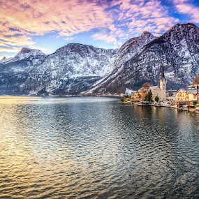 Hallstatt by Zoltan Duray - Landscapes Waterscapes ( europe, church, lake, house, valley, hallstatt, relaxing, sky, winter, nature, see, relaxed, peacefull, bluesky, town, austria, alps,  )
