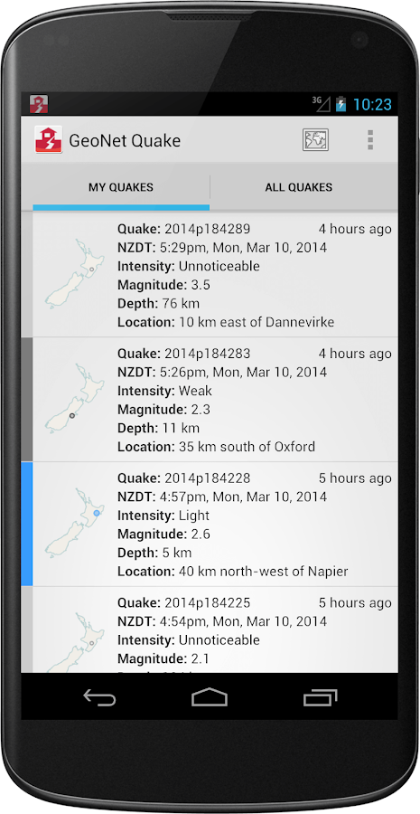 GeoNet Quake - screenshot