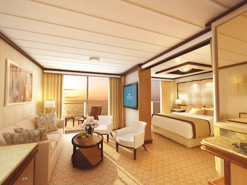 Choose a Suite on your Princess ship to get a separate sitting area and coffee table, furnished balcony, large walk-in closet, two flat-panel TVs, a twin or queen bed and exclusive amentities. Discuss the room that's right for you with a Cruiseable travel professional.