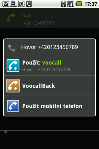 VooCall.cz CSipSimple plugin - screenshot