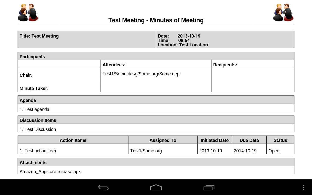 Meeting Minutes - screenshot