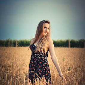 by Alex Parlog - People Portraits of Women ( girl, sunset, grain, portrait, colours,  )