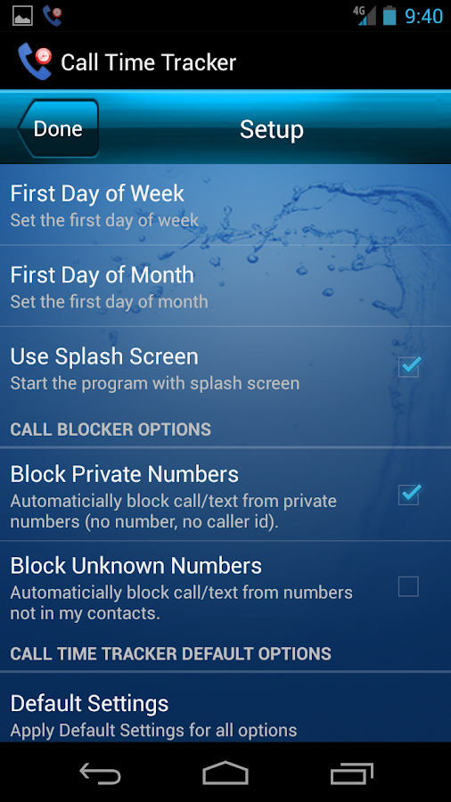 Call Time Tracker+Call Blocker - screenshot