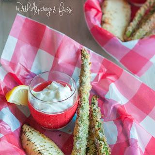 Fire-Roasted Lemon Garlic Tilapia with Asparagus Fries.