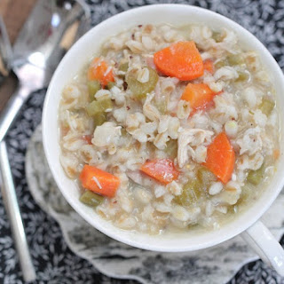 Hearty Chicken Barley Soup with Vegetables.