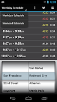 Screenshot of Caltrain Droid