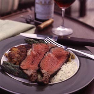 Grilled Prime Aged Sirloin with Garlic-Scallion Potato Cakes and Béarnaise Sauce
