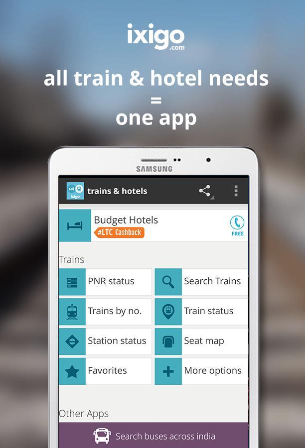 indian rail train info hotels - screenshot