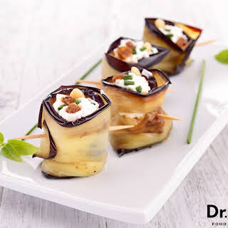Eggplant Wrapped Goat Cheese.