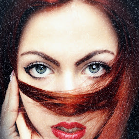 Red storm by Kristina Milosavljević - People Portraits of Women ( girl, red hair, snow, art, red lips, blue eyes, portrait, emotion )