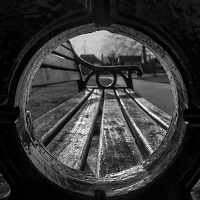 Through by Nicole Williams - Novices Only Objects & Still Life ( b&w, bench, park, view, pov )
