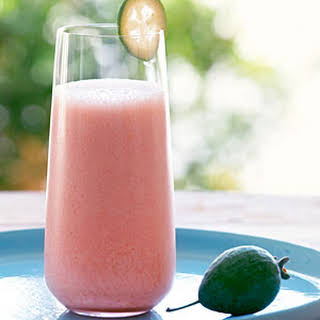 Pineapple Guava (Feijoa) and Strawberry Smoothie.