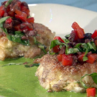 Blue Corn Crab Cakes With Black Olive-red Pepper Relish And Basil Vinaigrette.