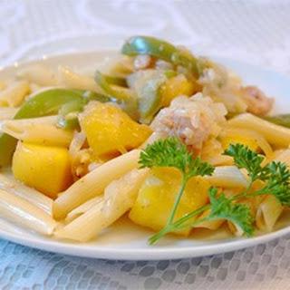Chicken and Pasta in a Mango Cream Sauce.