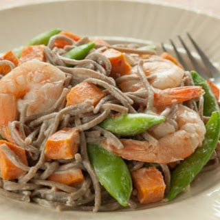 Soba Noodles with Roasted Shrimp and Sweet Potatoes.