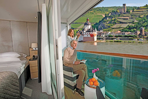 Scenic-Cruises-Sun-Lounge - Scenic Cruises' Sun Lounges enable couples to enjoy beautiful scenery in a romantic setting from their own private balconies.