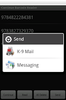 Screenshot of Continue Barcode Reader