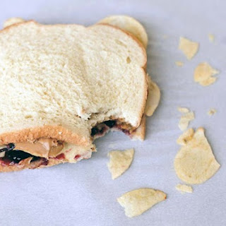 Peanut Butter and Jelly Sandwich With Potato Chips.