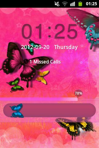 GO Locker Theme Pink Butterfly - screenshot