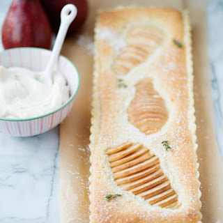 Pear Almond Tart with Amaretto Cream