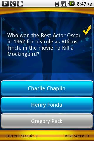 Oscars Trivia - screenshot
