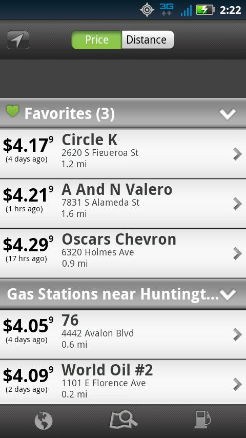 MapQuest Gas Prices- screenshot