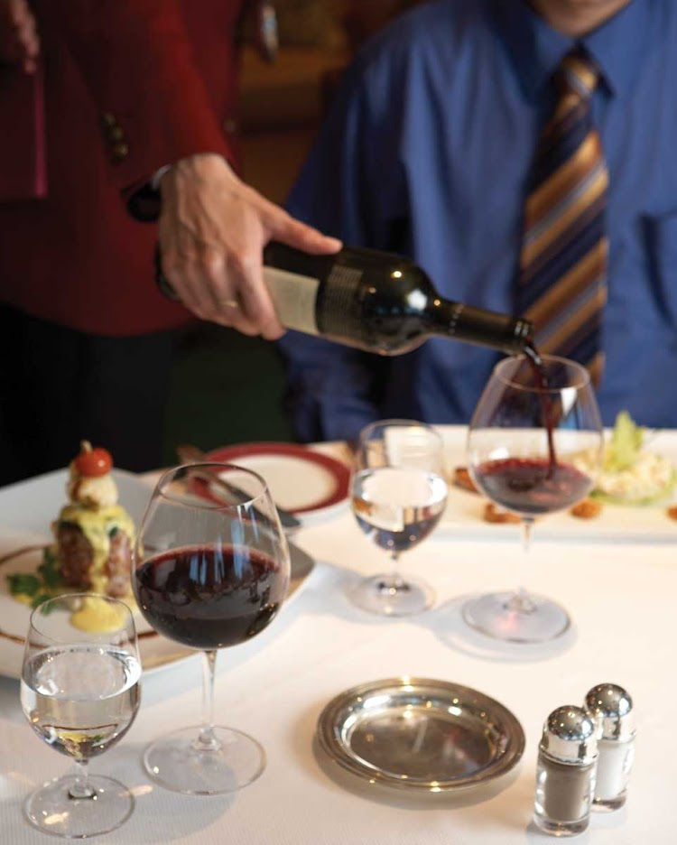 Oceania Nautica's sommeliers will ensure you are served premium wines to complement your meal while dining at the Polo Grill restaurant.
