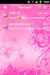 GO SMS Pro Theme Pink Flowers- screenshot thumbnail