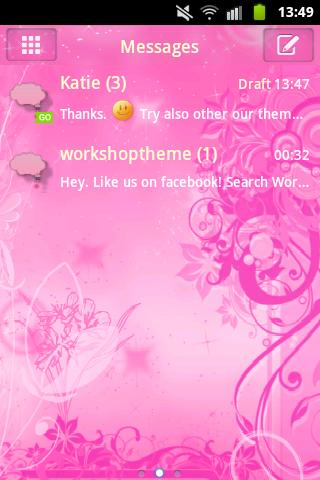GO SMS Pro Theme Pink Flowers - screenshot