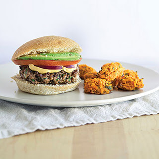 Honey Mustard Beef Burgers with Sweet Potato Tots