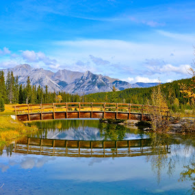 Fall Bridge by  J B  - Landscapes Waterscapes ( cascade ponds, banff national park, fall, reflections, banff )