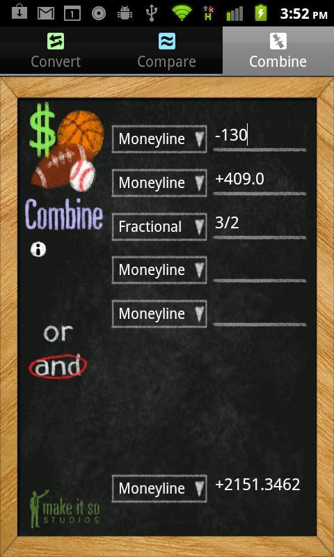 Sports Betting Odds Calculator- screenshot