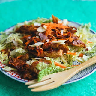 Sesame-Ginger Soy Curls with Napa Cabbage Salad.