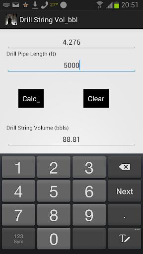 Drill String Volume Calc bbls