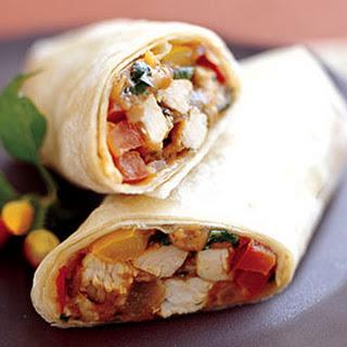 Turkey Burritos with Salsa and Cilantro.