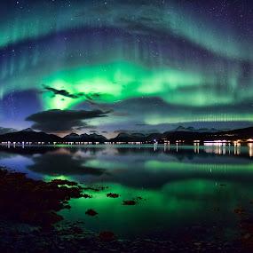 Nordkjosbotn by Rune Nilssen - Landscapes Starscapes ( k3, mountain, aurora borealis, aurora, sea, pentax, fjord, sky, borealis, cars, snow, mirroring, light,  )